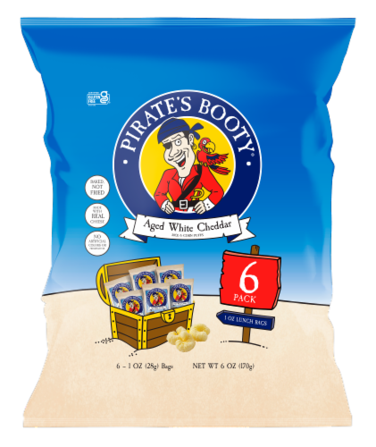 Pirate's Booty Aged White Cheddar Rice & Corn Puffs Bags 6 Count Perspective: front