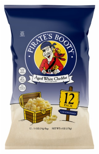 Pirate's Booty Aged White Cheddar Rice & Corn Puffs Lunch Bags Perspective: front