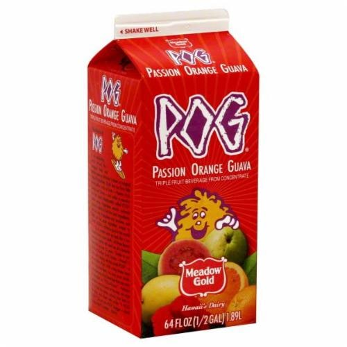 Meadow Gold POG Original Passion Orange Guava Juice Perspective: front
