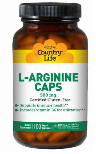Country Life L-Arginine Vegetarian Capsules 500mg Perspective: front