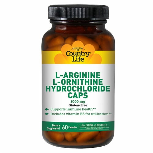 Country Life  L-Arginine L-Ornithine Hydrochloride Caps Perspective: front