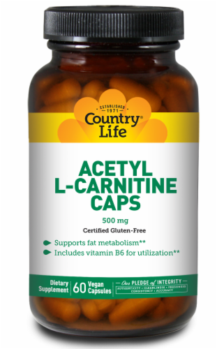 Country Life Acetyl L-Carnitine 500 mg Vegan Capsules Perspective: front