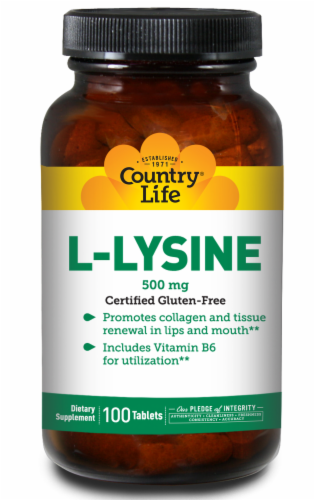 Country Life L-Lysine Tablets 500mg Perspective: front
