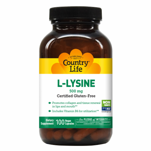 Country Life L-Lysine Vegetarian Capsules 500mg Perspective: front