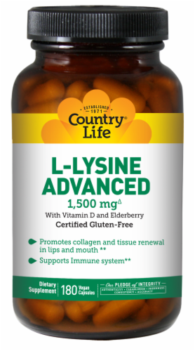Country Life L-Lysine Advanced Dietary Supplement Vegan Capsules 1500mg Perspective: front