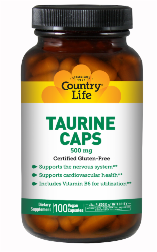 Country Life Taurine 500 mg Vegan Capsules Perspective: front