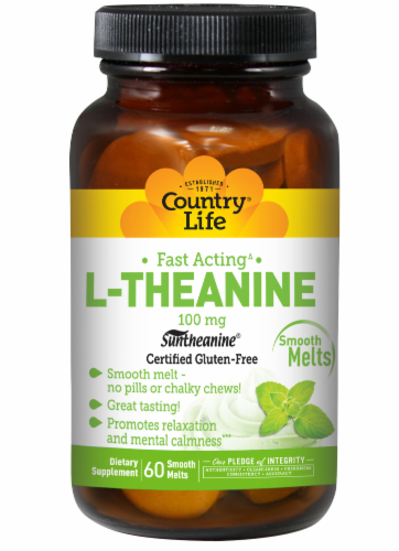 Country Life Fast-Acting L-Theanine Smooth Melts 100mg Perspective: front