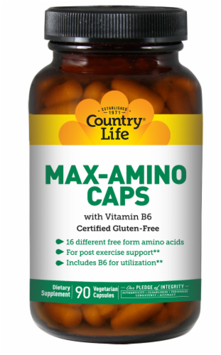 Country Life Max-Amino with Vitamin B6 Vegetarian Capsules Perspective: front