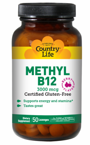 Country Life Berry Flavor Methyl B-12 Lozenges Perspective: front