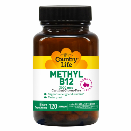 Country Life Methyl B12 Berry Flavor Lozenges 3000mcg Perspective: front