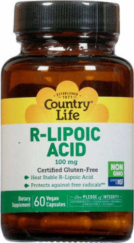 Country Life R-Lipoic Acid 100 mg Vegan Capsules Perspective: front
