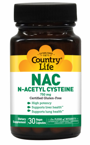 Country Life NAC N-Acetyl Cysteine 750 mg Vegetarian Capsules Perspective: front
