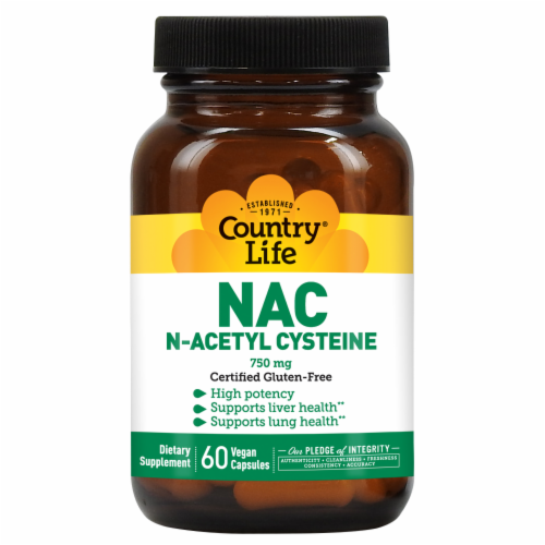 Country Life NAC N-Acetyl Cysteine Vegetarian Capsules 750mg Perspective: front