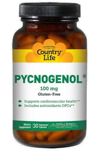 Country Life Pycnogenol 100 mg Vegetarian Capsules Perspective: front