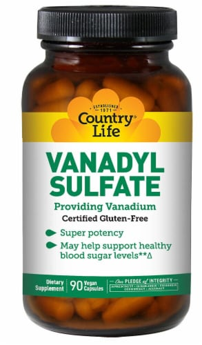 Country Life Vanadyl Sulfate Capsules Perspective: front