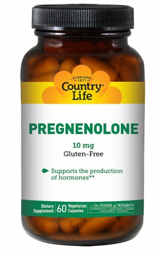 Country Life Pregnenolone Vegetarian Capsules 10 mg Perspective: front