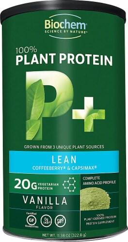 Biochem Sports  100% Plant Protein Supplement  P plus Lean   Vanilla Perspective: front