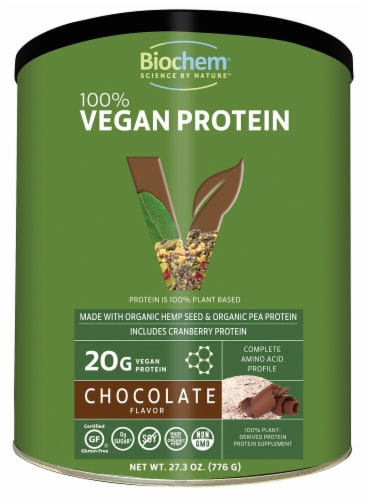 Biochem Sports  100% Vegan Protein   Chocolate Perspective: front