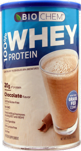 BioChem 100% Chocolate Flavor Whey Protein Isolate Powder Perspective: front