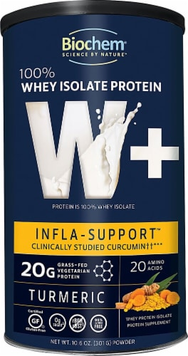 Biochem Sports  W+ Infla - Support Whey Isolate Protein   Turmeric Perspective: front