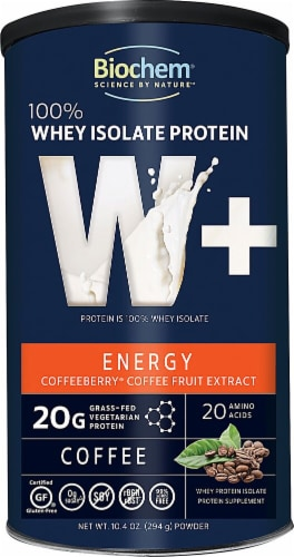 Biochem Sports  100% Whey Isolate Protein W+ Energy Perspective: front