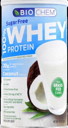 BioChem 100% Whey Coconut Flavor Sugar-Free Protein Perspective: front