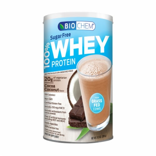 BioChem Sugar-Free Whey Cocoa Coconut Protein Perspective: front