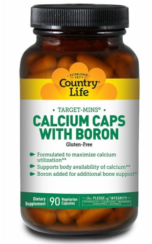 Country Life Calcium Caps with Boron Capsules 90 Count Perspective: front