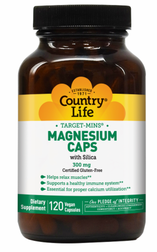 Country Life Target-Mins Magnesium Capsules 300mg Perspective: front