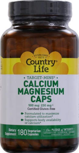 Country Life Calcium 500 mg & Magnesium 250 mg Vegetarian Capsules Perspective: front