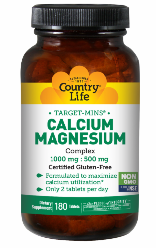 Country Life Calcium-Magnesium Complex 1000 mg - 500 mg Tablets Perspective: front