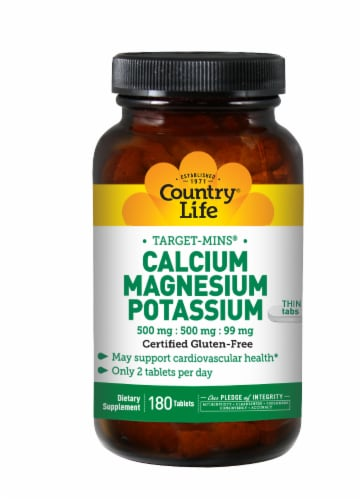 Country Life Calcium 500 mg Magnesium 500 mg & Potassium 99 mg Thin Tablets Perspective: front