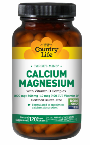 Country Life Calcium 1000 mg Magnesium 500 mg with Vitamin D 400 IU Vegetarian Capsules Perspective: front