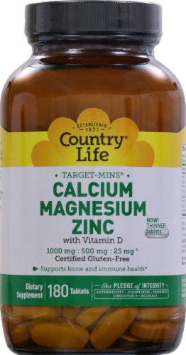 Country Life Calcium 1000 mg Magnesium 500 mg & Zinc 25 mg with Vitamin D Thin Tablets Perspective: front