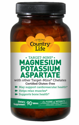 Country Life Target-Mins Magnesium Potassium Aspartate Tablets Perspective: front