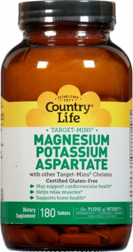 Country Life Magnesium Potassium & Aspartate Thin Tablets Perspective: front