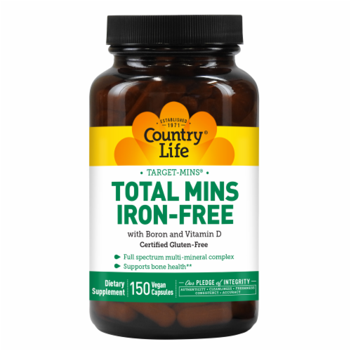 Country Life Total Mins Iron-Free with Boron and Vitamin D Vegetarian Capsules Perspective: front