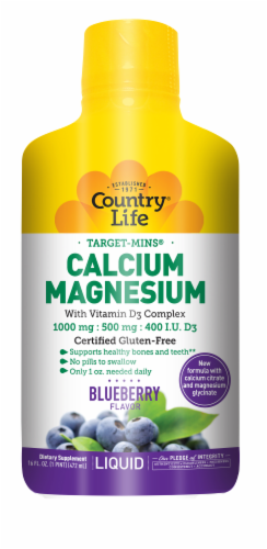 Country Life Calcium 1000 mg Magnesium 500 mg with Vitamin D3 400 IU Wild Blueberry Liquid Perspective: front