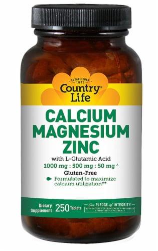 Country Life  Calcium Magnesium Zinc with L-Glutamic Acid Perspective: front