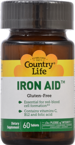Country Life Iron Aid 15 mg Gluten Free Tablets Perspective: front