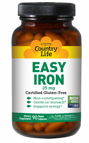 Country Life Easy Iron Vegetarian Capsules 25mg Perspective: front