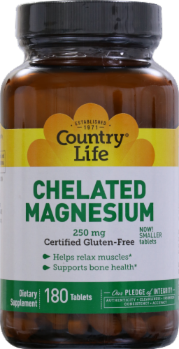 Country Life Chelated Magnesium 250 mg Tablets Perspective: front