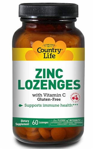 Country Life  Zinc Lozenges with Vitamin C   Cherry Perspective: front