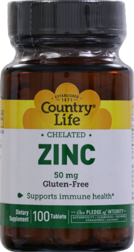 Country Life Chelated Zinc 50 mg Tablets Perspective: front