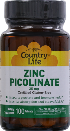 Country Life Zinc Picolinate 25 mg Tablets Perspective: front