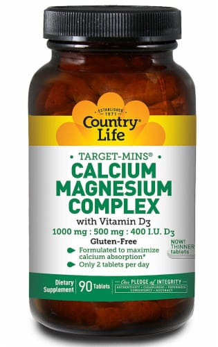 Country Life  Target-Mins™ Calcium Magnesium Complex with Vitamin D3 Perspective: front