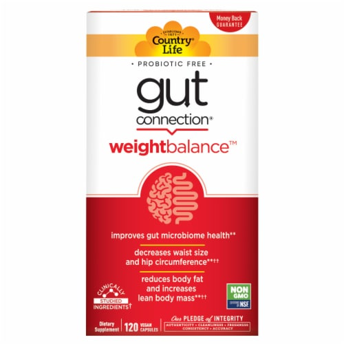 Country Life Gut Connection Weight Balance Dietary Supplement Vegan Capsules Perspective: front