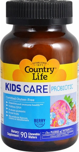 Country Life Kids Care Probiotic Berry Flavor Chewable Wafers 90 Count Perspective: front