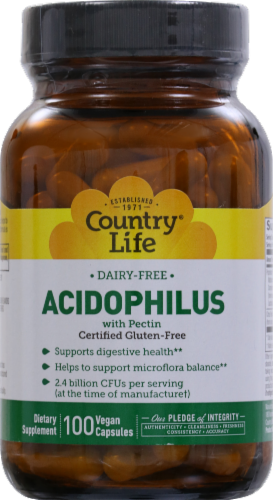 Country Life Acidophilus With Pectin Vegan Capsules Perspective: front