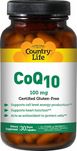 Country Life CoQ10 Capsules 100mg Perspective: front
